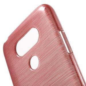 Hladký gelový obal s broušeným vzorem na LG G5 - růžový - 5