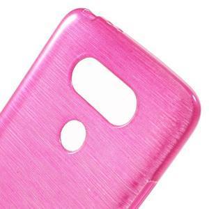 Hladký gelový obal s broušeným vzorem na LG G5 - rose - 5