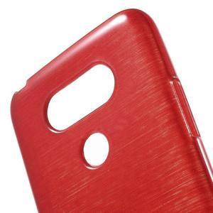 Hladký gelový obal s broušeným vzorem na LG G5 - červený - 5