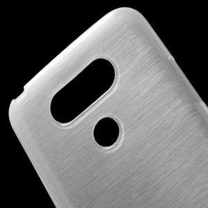 Hladký gelový obal s broušeným vzorem na LG G5 - bílý - 5