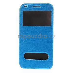Klopové pouzdro s okýnky na Huawei Ascend G7 - modré - 5