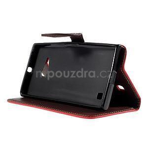 PU kožené pouzdro se zapínáním na Nokia Lumia 730/735 - červené - 5