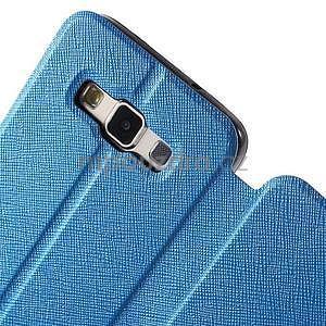 Klopové PU kožené pouzdro na Samsung Galaxy A3 - modré - 5