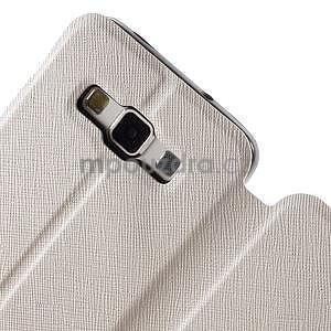 Klopové PU kožené pouzdro na Samsung Galaxy A3 - bílé - 5