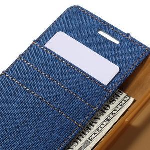 Canvas PU kožené/textilní pouzdro na Samsung Galaxy A5 (2016) - modré - 5