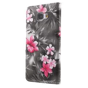 Květinové peněženkové pouzdro na Samsung Galaxy A5 (2016) - černé - 5