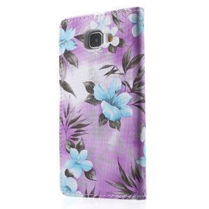 Květinové peněženkové pouzdro na Samsung Galaxy A5 (2016) - fialové - 5