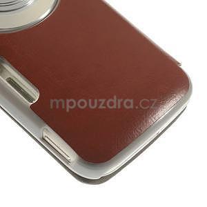 Hnědé peněženkové pouzdro na Samsung Galaxy K Zoom C115 - 5
