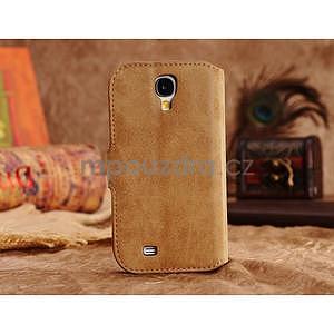 Peněženkové pouzdro z pravé kůže na Samsung Galaxy S4 - khaki - 5