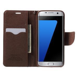 Mercury Orig PU kožené pouzdro na Samsung Galaxy S7 Edge - černé/hněé - 5