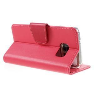 Rich PU kožené peněženkové pouzdro na Samsung Galaxy S7 - rose - 5