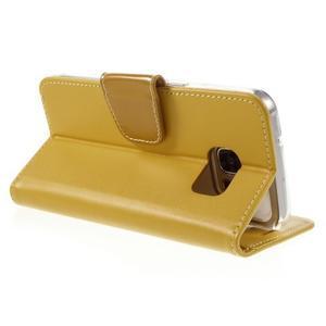Rich PU kožené peněženkové pouzdro na Samsung Galaxy S7 - žluté - 5