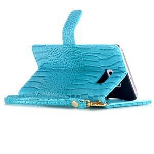 Croco styl peněženkové pouzdro na Samsung Galaxy S7 - modré - 5