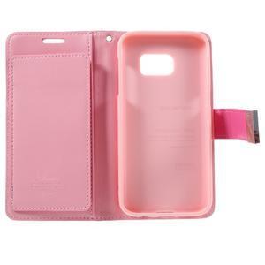 Luxury PU kožené pouzdro na Samsung Galaxy S7 - růžové - 5