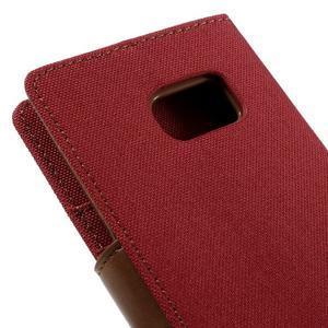 Canvas PU kožené/textilní pouzdro na Samsung Galaxy S7 - červené - 5