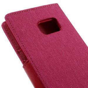 Canvas PU kožené/textilní pouzdro na Samsung Galaxy S7 - rose - 5