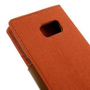 Canvas PU kožené/textilní pouzdro na Samsung Galaxy S7 - oranžové - 5
