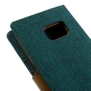 Canvas PU kožené/textilní pouzdro na Samsung Galaxy S7 - zelené - 5