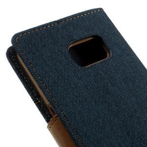 Canvas PU kožené/textilní pouzdro na Samsung Galaxy S7 - modré - 5