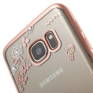 Nice gelový obal s kamínky na Samsung Galaxy S7 - bílé květiny - 5