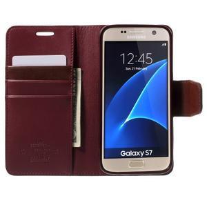Sonata PU kožené pouzdro na Samsung Galaxy S7 - vínové - 5
