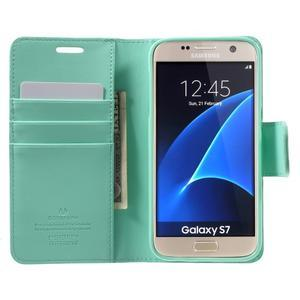 Sonata PU kožené pouzdro na Samsung Galaxy S7 - azurové - 5