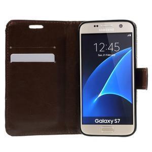 Květinové pěněženkové pouzdro na Samsung Galaxy S7 - hnědočervené - 5