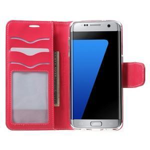 Rich PU kožené pouzdro na Samsung Galaxy S7 edge - rose - 5