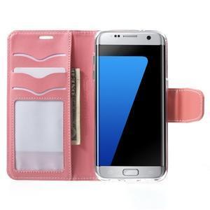 Rich PU kožené pouzdro na Samsung Galaxy S7 edge - růžové - 5
