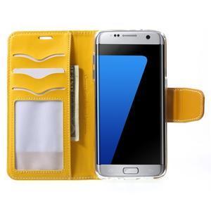Rich PU kožené pouzdro na Samsung Galaxy S7 edge - žluté - 5