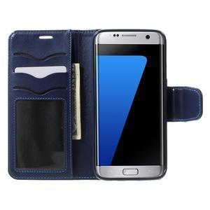 Rich PU kožené pouzdro na Samsung Galaxy S7 edge - tmavěmodré - 5