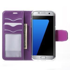Rich PU kožené pouzdro na Samsung Galaxy S7 edge - fialové - 5