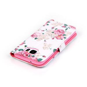 Květinové peněženkové pouzdro na Samsung Galaxy S7 Edge - 5