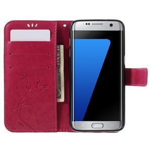 Butterfly PU kožené pouzdro na Samsung Galaxy S7 edge - rose - 5