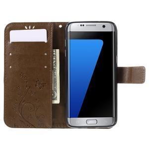 Butterfly PU kožené pouzdro na Samsung Galaxy S7 edge - coffee - 5