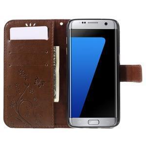 Butterfly PU kožené pouzdro na Samsung Galaxy S7 edge - hnědé - 5