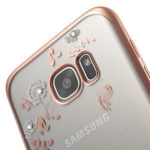 Nice gelový obal s kamínky na Samsung Galaxy S7 edge - bílé květiny - 5
