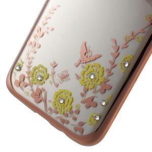 Nice gelový obal s kamínky na Samsung Galaxy S7 edge - žluté květiny - 5