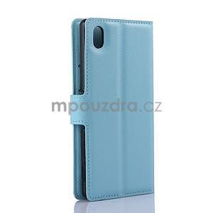 Světle modré PU kožené pouzdro na Sony Xperia M4 Aqua - 5