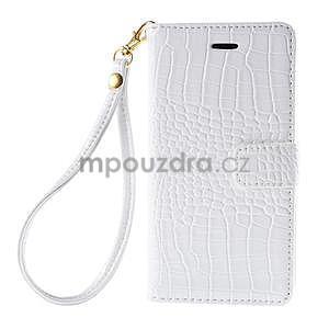 Bílé PU kožené pouzdro aligátor pro Sony Xperia M4 Aqua - 5