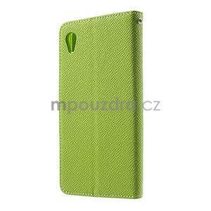Zelené PU kožené peněženkové pouzdro na Sony Xperia M4 Aqua - 5