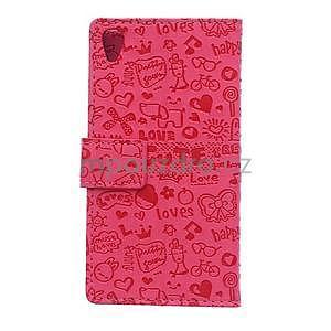 Rose texturované pouzdro na Sony Xperia M4 Aqua - 5