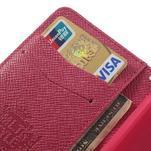 Peněženkové PU kožené pouzdro na Sony Xperia Z1 Compact - rose - 5/7