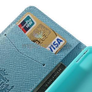 Peněženkové PU kožené pouzdro na Sony Xperia Z1 Compact - modré - 5