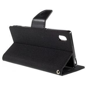 Canvas PU kožené/textilní pouzdro na Sony Xperia Z5 - černé - 5