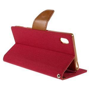 Canvas PU kožené/textilní pouzdro na Sony Xperia Z5 - červené - 5