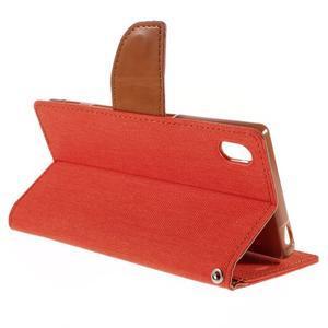 Canvas PU kožené/textilní pouzdro na Sony Xperia Z5 - oranžové - 5