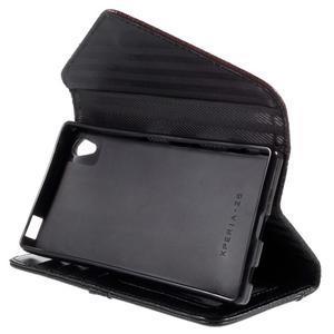 Stylové peněženkové pouzdro Sony Xperia Z5 - hnědé/černé - 5