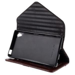 Stylové peněženkové pouzdro Sony Xperia Z5 - černé/hnědé - 5