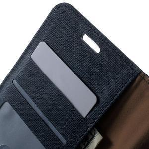 Grid PU kožené pouzdro na Sony Xperia Z5 - tmavěmodré - 5